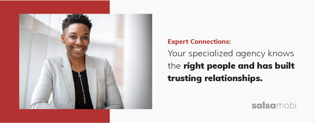 A specialized remote staffing agency knows the right people and has built trusting relationships